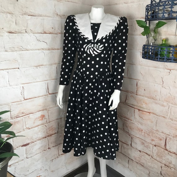 Vintage 80s Polka Dot Sailor S Bow Black White Secretary Midi Dress Melissa vtg 1980s small cotton