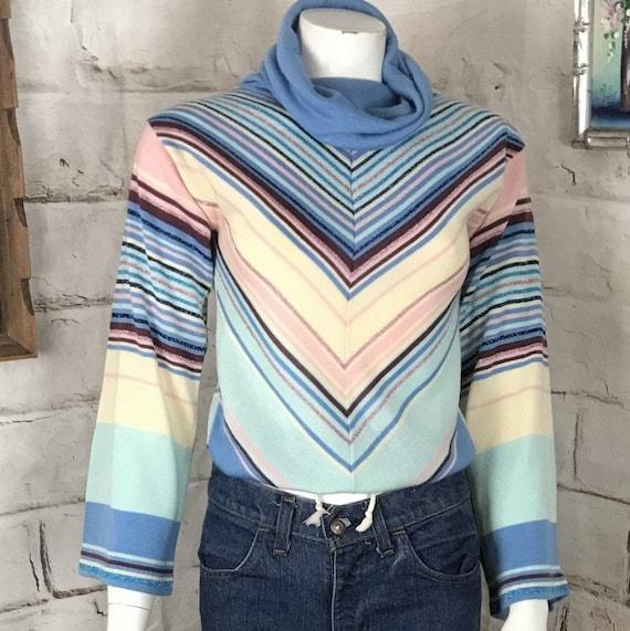 Vintage 70s Striped Chevron Acrylic Metallic Cowl Neck Sweater Top Shirt Blouse