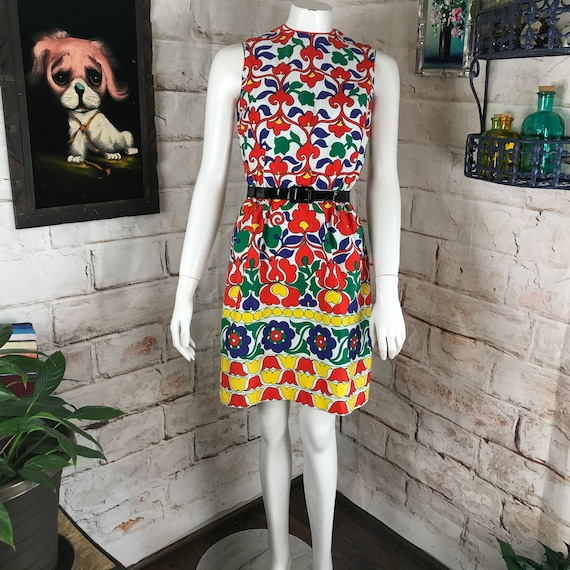 Vintage 60s 70s Bold Colorful Floral Psychedelic XS Lanz Julius Garfinkel Mini Shift Sheath Dress XSmall