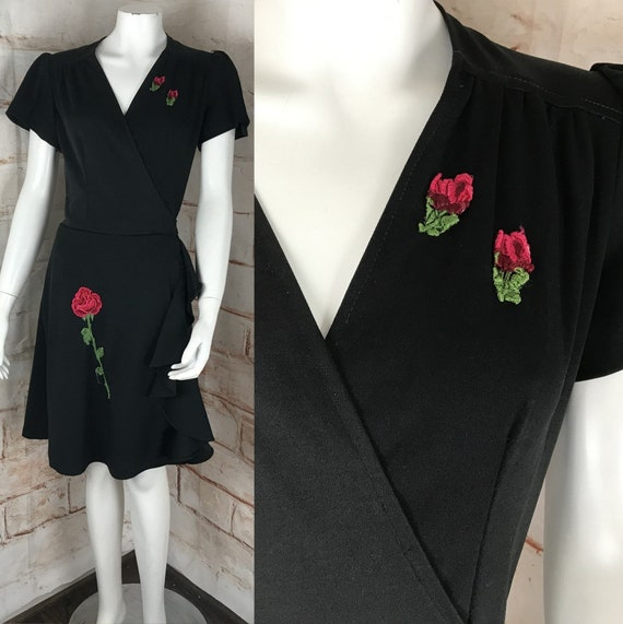 Vintage 70s Black Red Rose Applique M Medium Wrap Mini Dress Draped Cocktail 1970s Medium