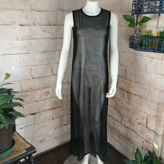 Vintage 90s DKNY Donna Karan New York Black Versatile minimalist M Sheer Maxi Floral Cover up Grunge Slip Dress Mesh Net 1990s Medium