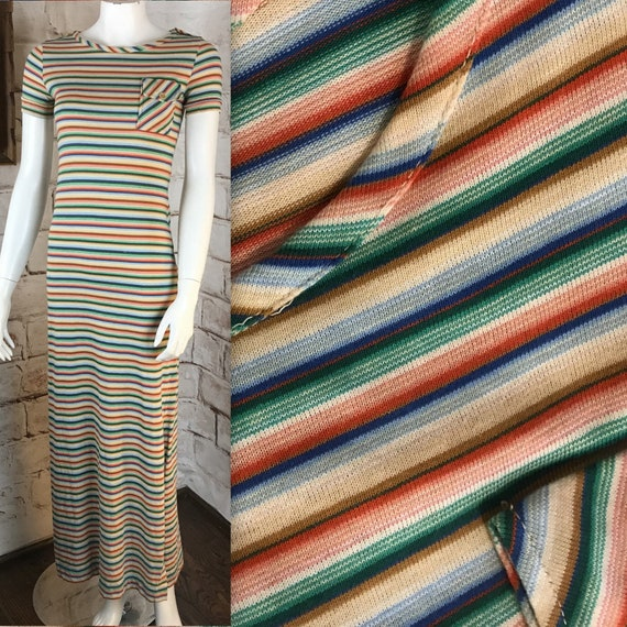 Vintage 70s Lesli J Rainbow XS Thin Striped Stretch Bodycon Maxi T-Shirt Dress 1970s XSmall