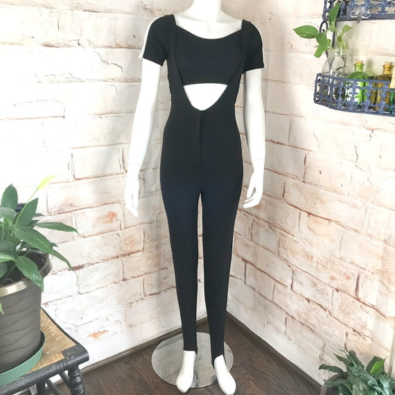Vintage 90s Black Stretch Stirrup XS/S Catsuit Bodysuit Leotard Jumpsuit Top Set spandex