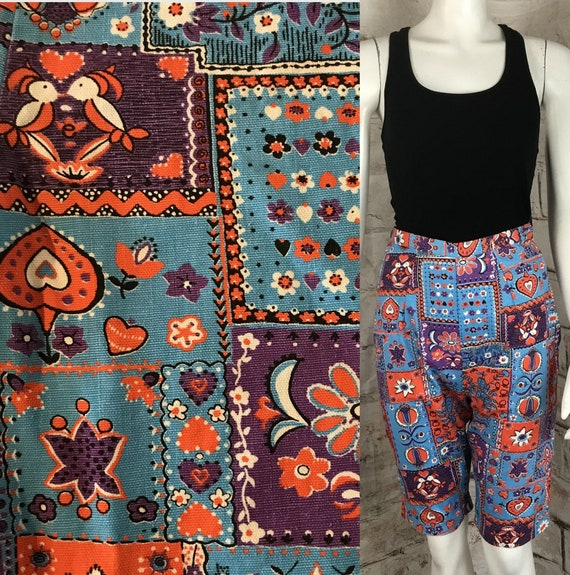 "Vintage 50s 60s Bermuda XS 23"" Clamdigger Shorts Floral Novelty Patchwork High Waist 1960s 1950s cotton peddle pushers Xsmall"