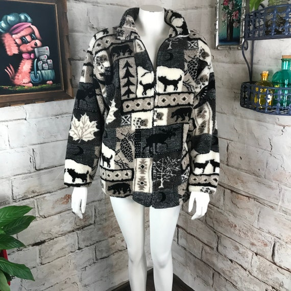 Vintage 90s Black Mountain Novelty Animals Fleece Faux Fur Jacket Zip-up Sweater 1990s Small Mens womens unisex