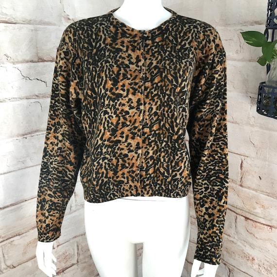 Vintage 90s I Did It! Mathew H Leopard Wool Cardigan Womens Sweater M Rockabilly 1990s medium