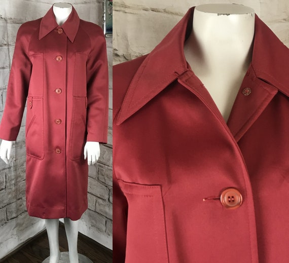 Vintage 70s fruit Punch raspberry Red Sateen Trench M Button Down Coat Long Jacket Wide Dagger Collar mod disco 1970s medium