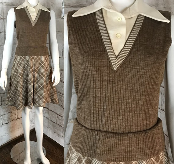 Vintage 70s Wool Sweater polyester Wide Dagger Butterfly Collar S/M Mini School Girl Plaid Dress Disco Sleeveless Vest Mod Uniform