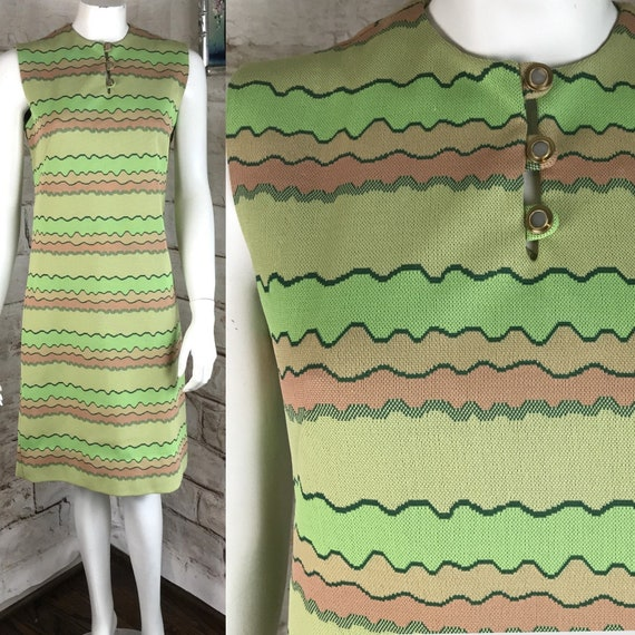 Vintage 60s Polyester Wavy Striped S psychedelic Shift Mini Dress Sleeveless 1960s Small Mod Green