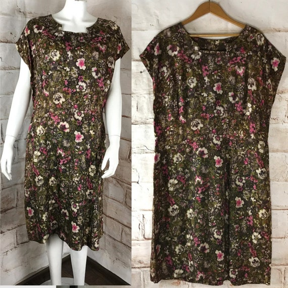 Vintage 50s 60s Abstract Floral Wiggle Pencil Sheath Mini Dress XL Plus Size 1950s vtg XLarge