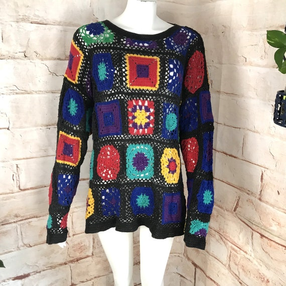 Vintage 90s Womens Chaus Granny OS Square Quilt Crochet Rainbow Sheer Sweater 1990s