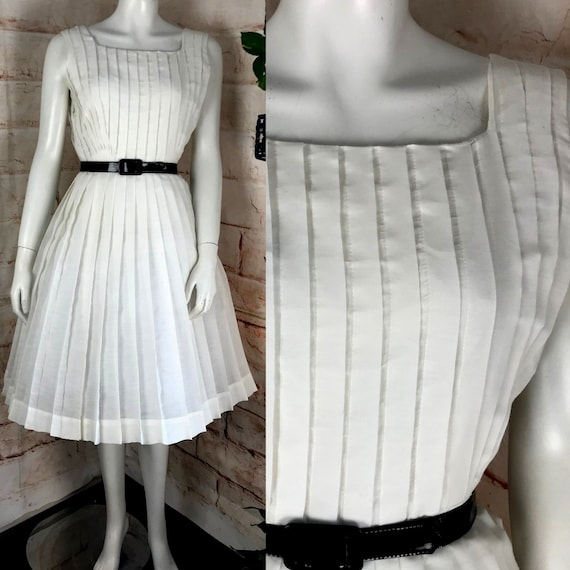 "Vintage 50s 60s Henry Rosenfeld 24""-Waist   36""-Bust White S/M Pleated Pleat Full Skirt Dress 1950s Small/Medium"
