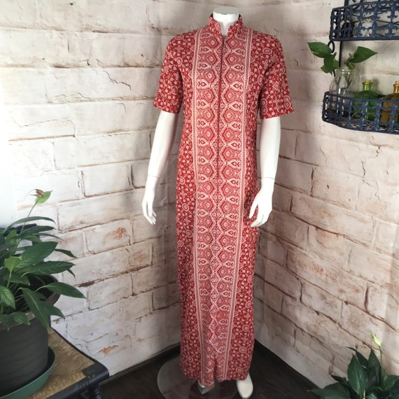 Vintage 70s Cotton Pakistan M India Maxi Caftan Dress floral batik hand block 1970s Medium Kaftan Red