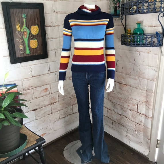 Vintage 70s Womens Striped Acrylic Womens S Cowl neck Turtleneck Knit Sweater Small 1970s rainbow