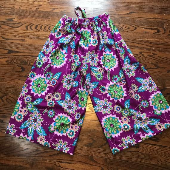 Vintage 70s Flower Power Psychedelic M/L Palazzo Wide Leg Wrap Pants novelty 1970s Floral Medium Large