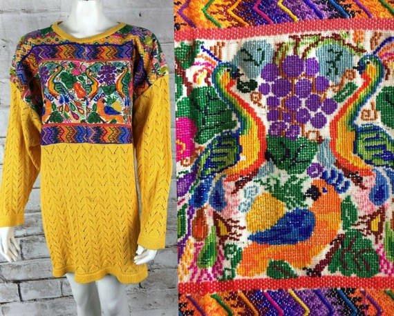 Vintage 80s Veranda Wear Guatemalan Huipil Hand Embroidered Rainbow Top Sweater Guatemala Birds Floral