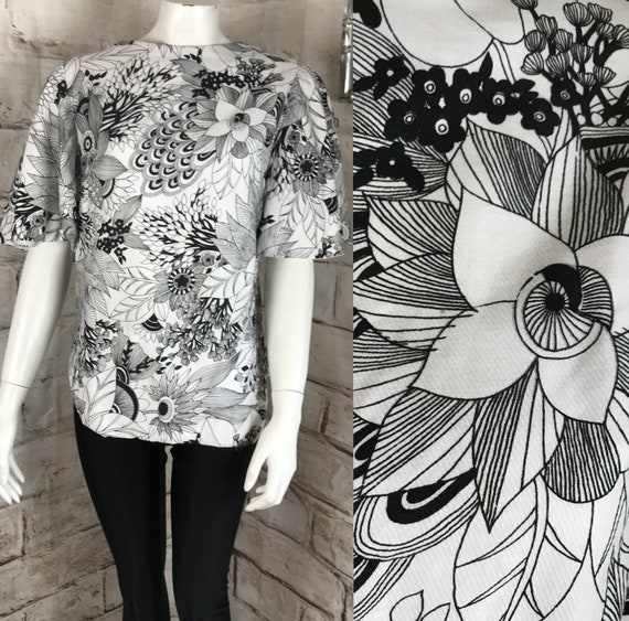 Vintage 60s 70s Psychedelic M Floral Outline Op Art Blouse Top Shirt Mod Bell Sleeves Medium 1960s Black White