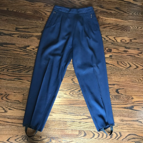 "Vintage 30s 40s Womens Navy Blue 27x29 M Wool Gabardine Ski Stirrup High Waist Pants Macwil Medium 27"" 1930s 1940s"