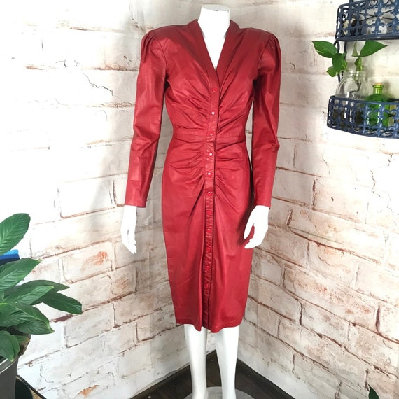 Vintage 80s Michael Hoban North Beach Red Snap Button Leather Mini Wiggle Dress 1980s Small sheath pencil