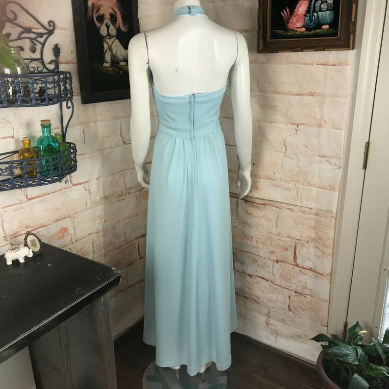 Vintage 70s Baby Blue Polyester Halter Maxi Sun Dress Sundress S Small Sylvia Ann