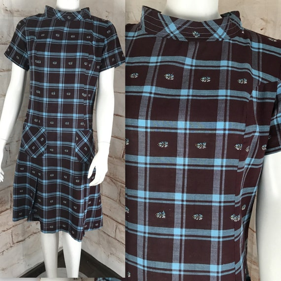 Vintage 60s Blue Plaid Shift Mini 1960s Cotton M School Girl Dress Mod Scooter medium