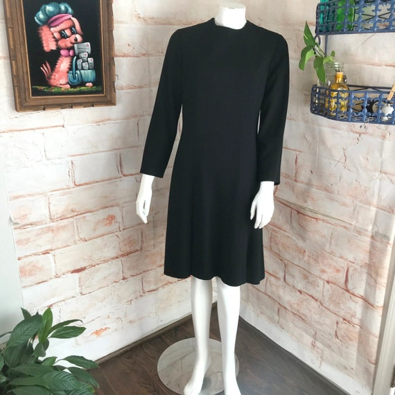 Vintage 60s Black Wool Crepe Mini Shift M William