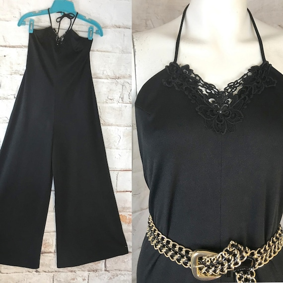 Vintage 70s Black Halter Top Palazzo Pants Polyester Bell Bottom Wide Leg Jumpsuit 1970s Medium/Large M/L