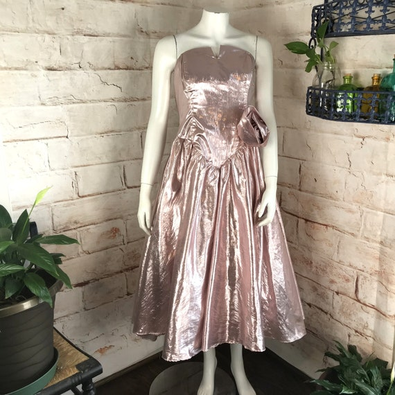 Vintage 80s Metallic M Pink Rose Strapless Prom dance Party Mini Dress Lame 1980s vtg Full Skirt tulle formal