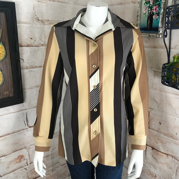 Vintage 70s Striped Womens Medium Polyester Shirt butterfly Dagger Collar Disco Blouse Top 1970s M