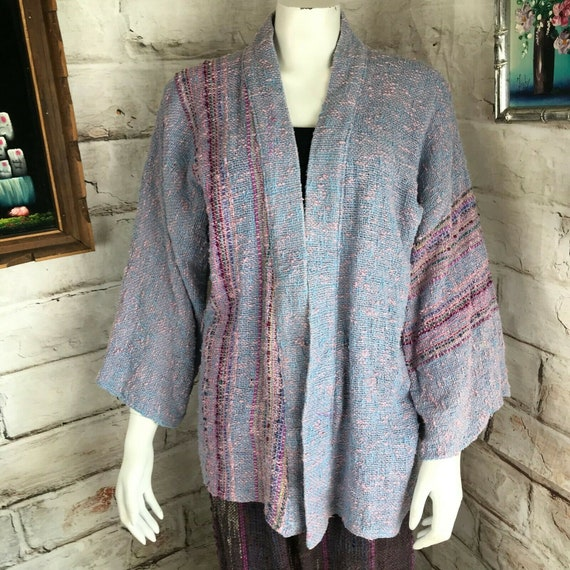 Vintage 80s Rebecca Jane Noble Hand Woven OS Sweater Jacket Kimono Art to Wear 1980s Cardigan Striped Stripe