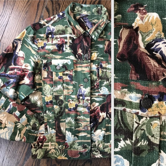 Vintage 80s Unisex Western Novelty Cowboys Horse Barkcloth Jean Style Trucker Jacket M/L 1980s Bark cloth Ranch wear womens mens