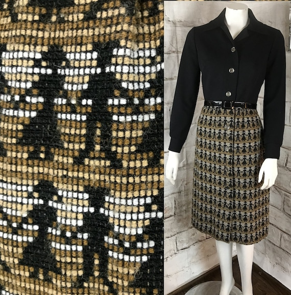 Vintage 60s 70s Dress Polyester Novelty S Ethnic Secretary Dress Pencil Wiggle Small 1970s People Holding Hands woven sweater skirt