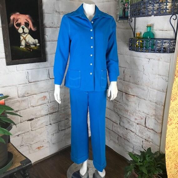 Vintage 70s Womens Jantzen Azure Blue Bell Bottom Flared Pants M Shirt Top Jacket Polyester Leisure Suit Matching Set Medium 1970s Disco