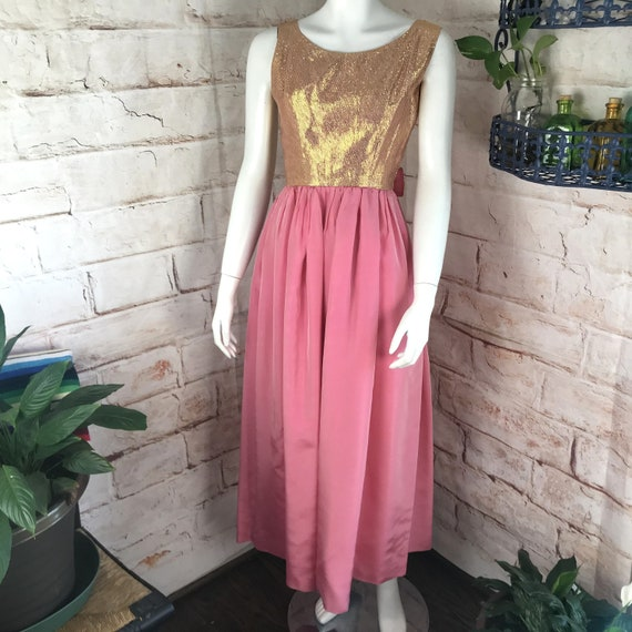 Vintage 60s Pink Metallic Gold Bow XS Taffeta Dress Prom Formal Maxi 1960s party XSmall