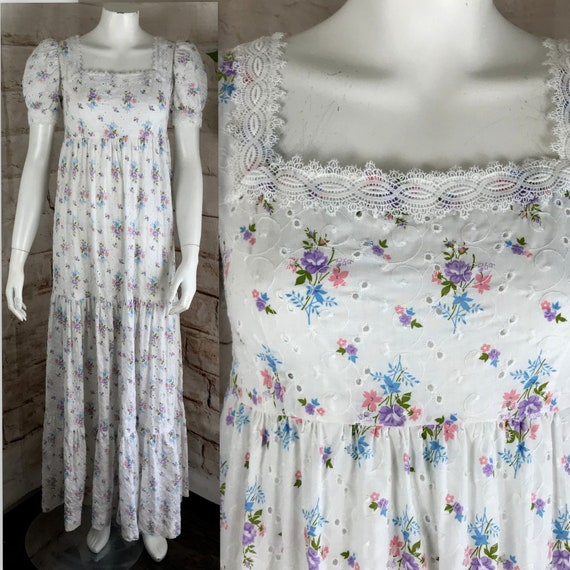Vintage 70s White Eyelet XS/S Floral Tiered Maxi Cotton Wedding Prairie Dress 1970s Boho Xsmall/small lace empire
