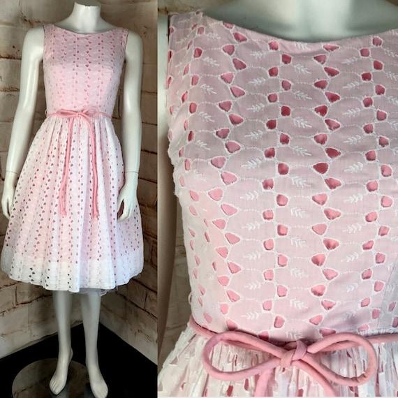 Vintage 50s 60s Eyelet Embroidered 1950s White Pink Full Skirt Sun Dress xsmall sundress