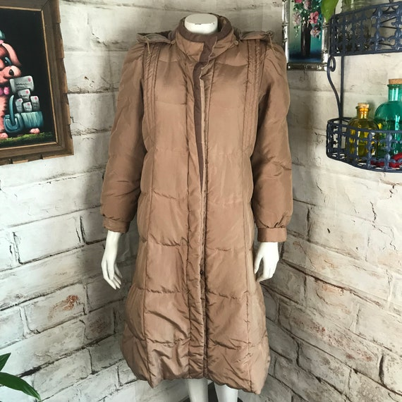 Vintage 70s Womens Caramel Beige XS/S Down Hooded Puffer Mid Midi Long Length Winter Coat 1970s Xsmall small