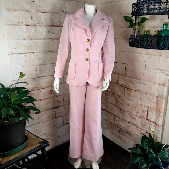 Vintage 70s Womens Pink Striped 3 Piece Set Bell Bottom Pants Jacket Skirt Polyester Leisure Suit 1970s disco Large/XLarge L/XL