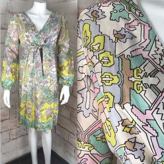 Vintage 60s Carol Brent Satin Geometric M/L Floral Southwest southwestern Mini Empire Dress 1960s medium/large