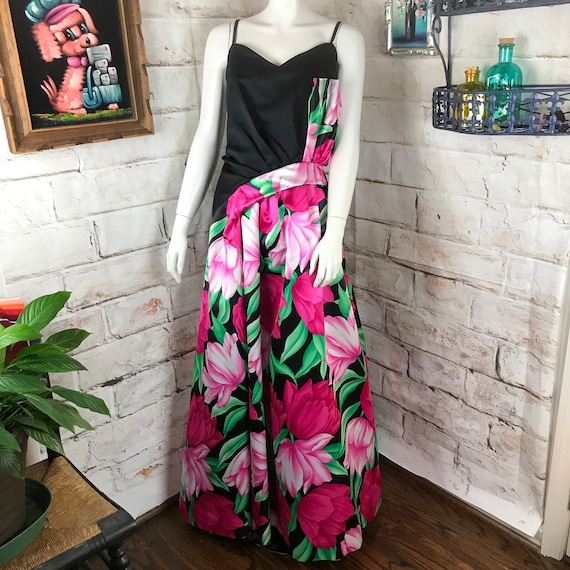 Vintage 80s Victor Costa Floral Origami Dress Gown Black Formal Satin Prom Dress 1980s Large L Draped Pink Sweetheart Valentines Day