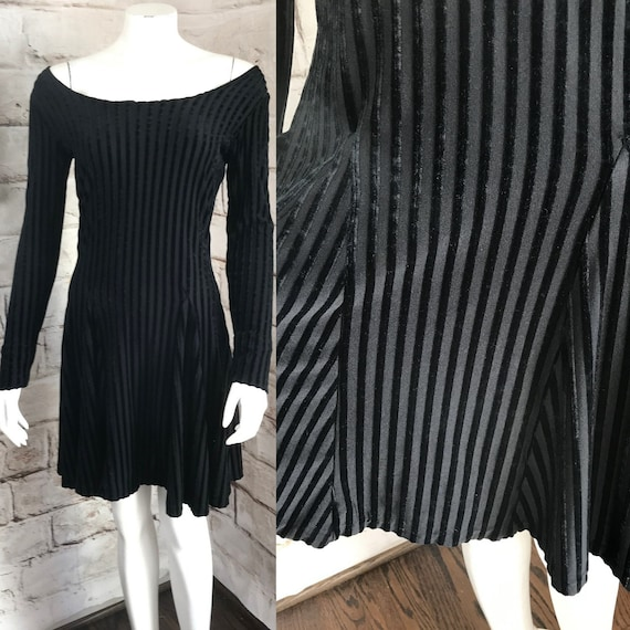 Vintage 90s Betsey Johnson Black Stretch M Velvet Striped Stripe Mini Skater Dress 1990s Medium Betsy
