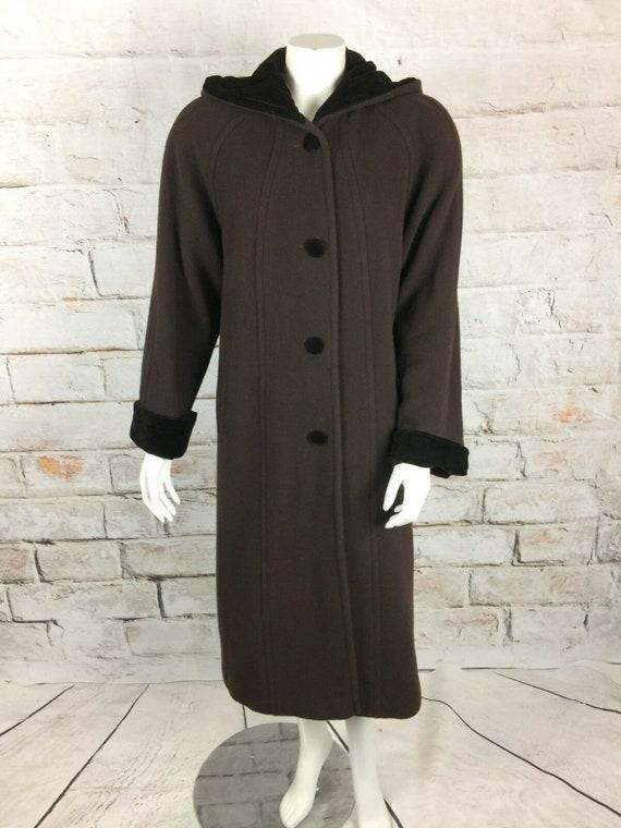 Vintage 90s Halston Brown Wool Hood Full Length Maxi Coat Velvet Trim S/M Trench