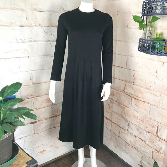 Vintage 70s Albert Nippon Boutique S Black Midi Jersey Dress Secretary 1970s vtg small