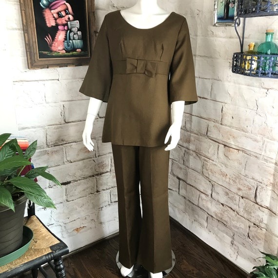 Vintage 60s 70s Womens Mocha Brown M/L Linen Bell Bottom Flared Top Pants Suit Mod Medium Large 1960s