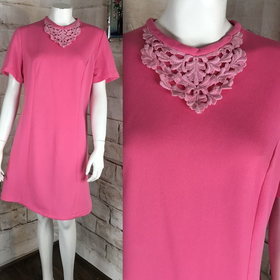 Vintage 60s Bubble Gum Pink L Mod Gogo Mini Shift Dress Polyester Large 1960s Scooter