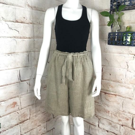 Vintage 90s Womens Paperbag S/M Raw Linen Jute Natural High Waist Bermuda Shorts 1990s harve benard minimalist