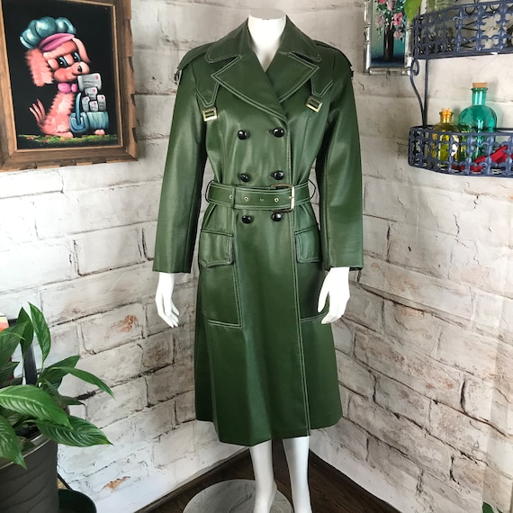 Vintage 60s 70s Mod Green Vinyl Trench S/M Midi Belt Coat Faux-Leather raincoat 1970s 1960s Small medium belted mid length long jacket