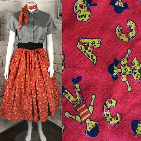 """Vintage 50s 60s Red S 25"""" Novelty Alphabet Apple Kids School Full Circle Skirt 1960s Small"""