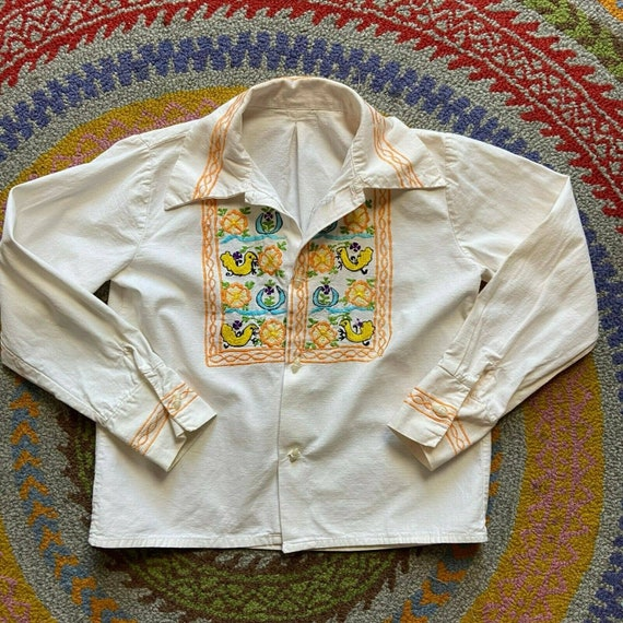 Vintage 70s Childs Boys Girls M Medium Mexican Emb