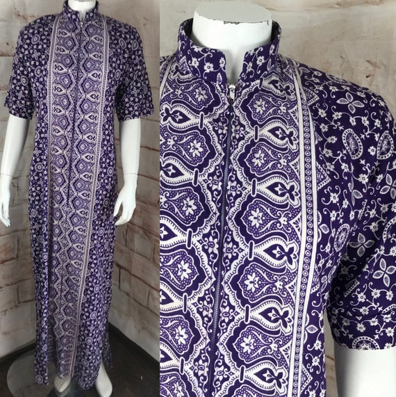 Vintage 70s Cotton Pakistan M India Maxi Caftan Dress floral batik hand block Medium 1970s purple white
